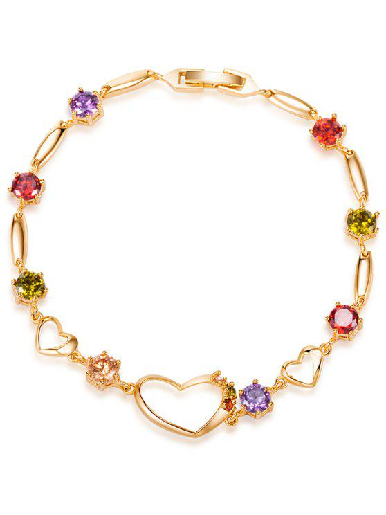 shops Rhinestone Hollow Heart Bracelet - COLORFUL