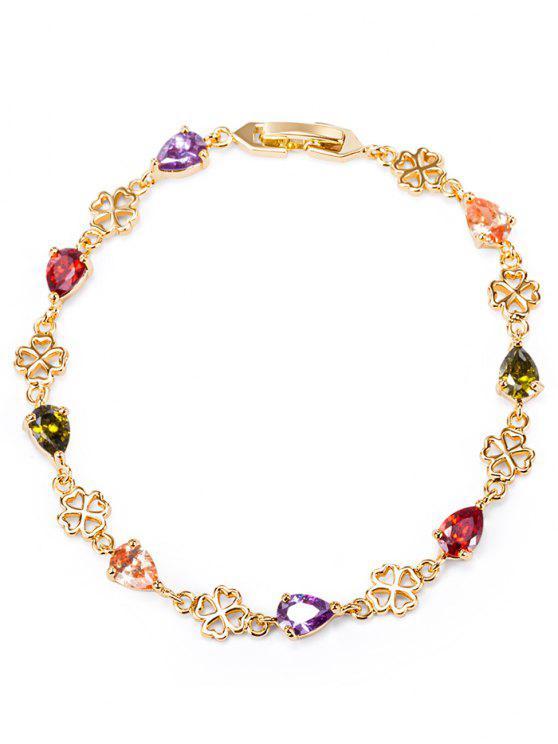 trendy Water Drop Rhinestone Flower Bracelet - COLORFUL