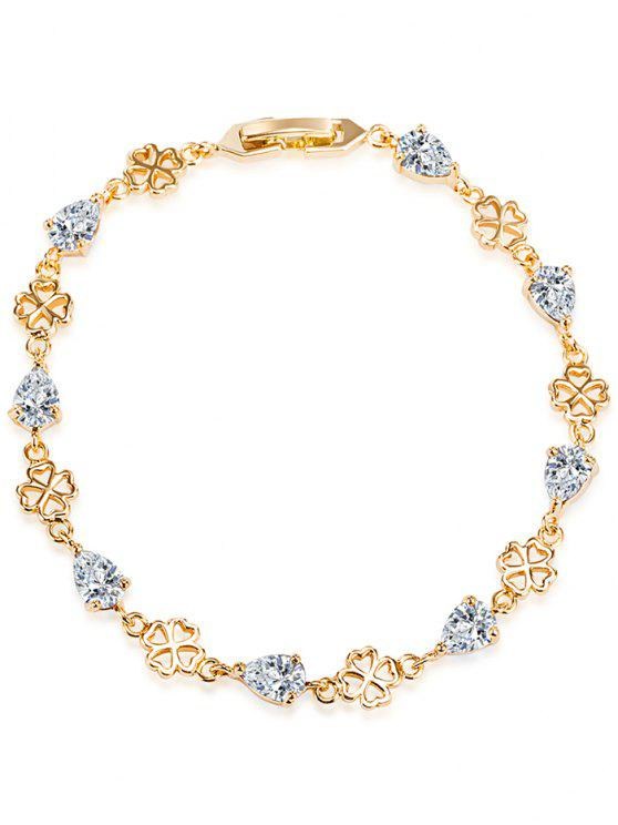 Water Drop Rhinestone Flower Bracelet - Branco