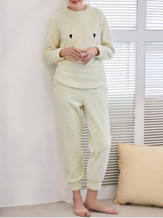 womens Flannel Smile Embroidered Loungewear Suit - LIGHT YELLOW XL