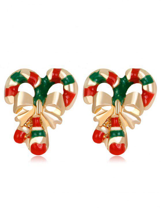 Boucles d'oreille à la canne à neige à rayures noires Bowknot - Multicolore