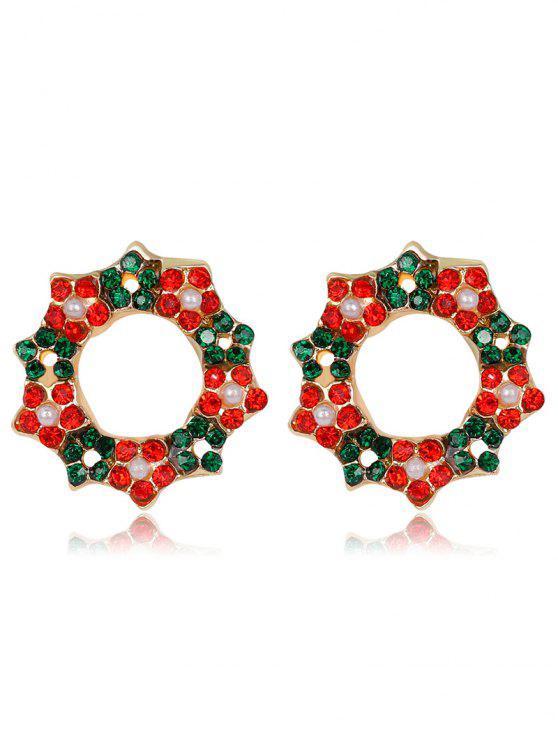 Weihnachtsrhinestone-Faux-Perlen-Kranz-Ohrringe - COLORMIX