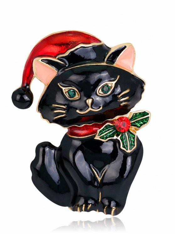 buy Christmas Hat Rhinestone Kitten Brooch - BLACK
