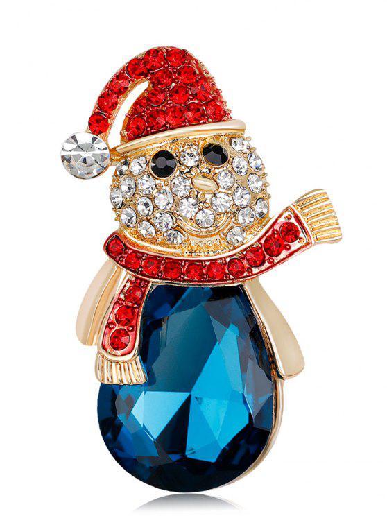 women Faux Crystal Rhinestone Christmas Snowman Brooch - BLUE