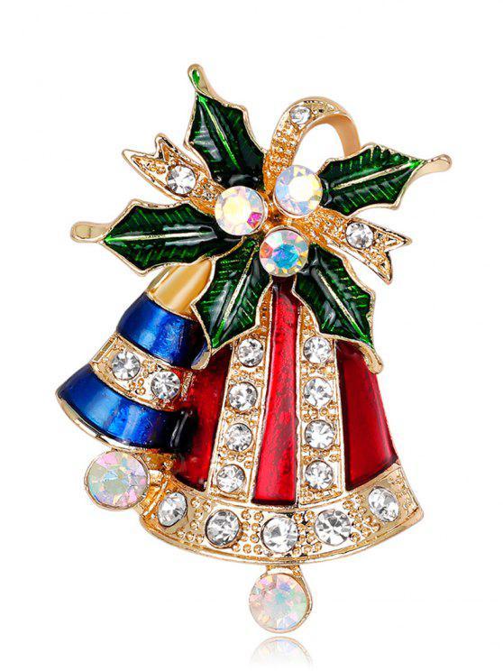 ladies Rhinestoned Christmas Bell Tiny Brooch - RED