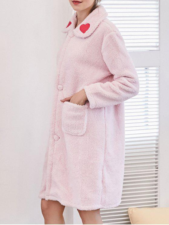 hot Heart Embroidered Flannel Night Robe - LIGHT PINK XL