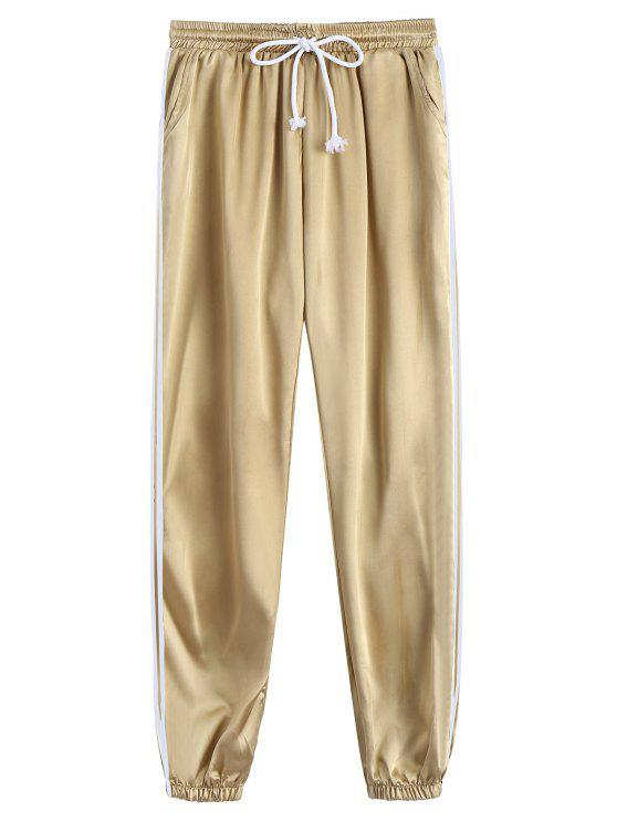 fancy Drawstring Shiny Sporty Jogger Pants - KHAKI L