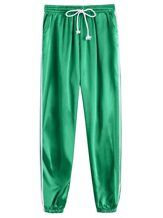 Pantalons sportifs sportifs brillants Drawstring - Vert M