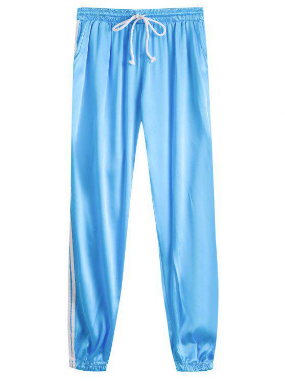 women Drawstring Shiny Sporty Jogger Pants - LAKE BLUE L