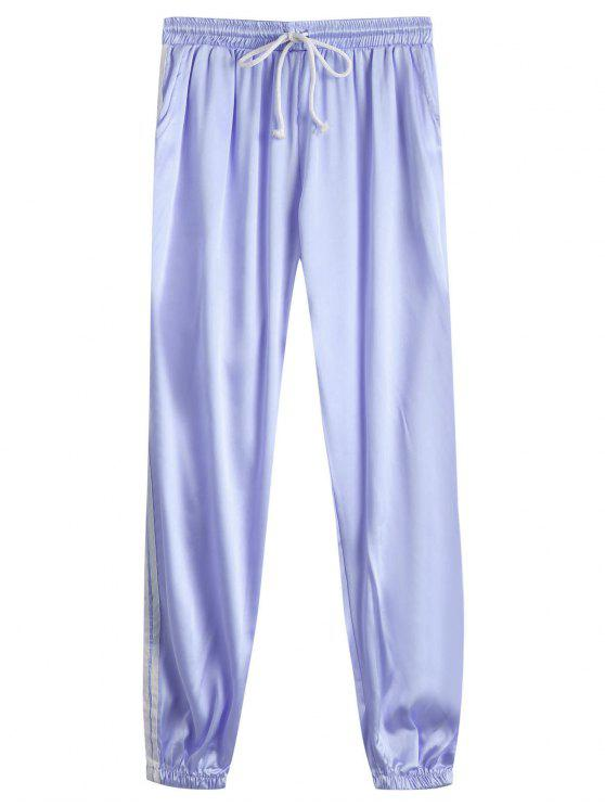lady Drawstring Shiny Sporty Jogger Pants - LARKSPUR L