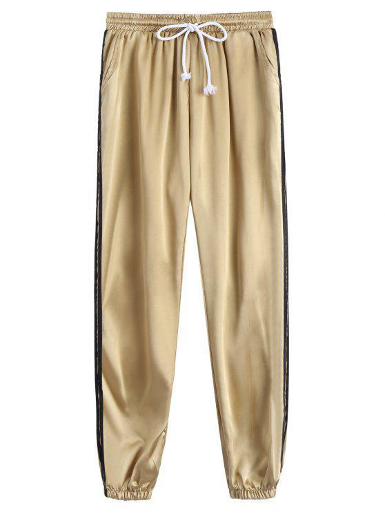 Sporty Drawstring Shiny Jogger Pants - Caqui L