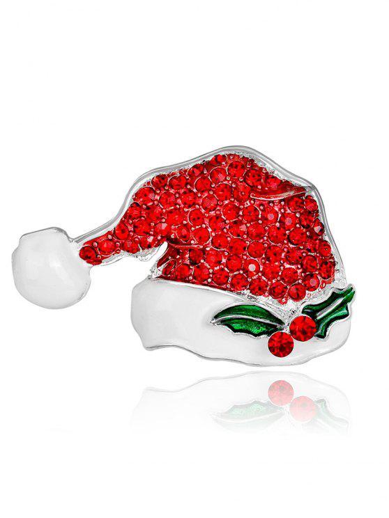 حجر الراين عيد الميلاد قبعة صغيرة بروش - أحمر