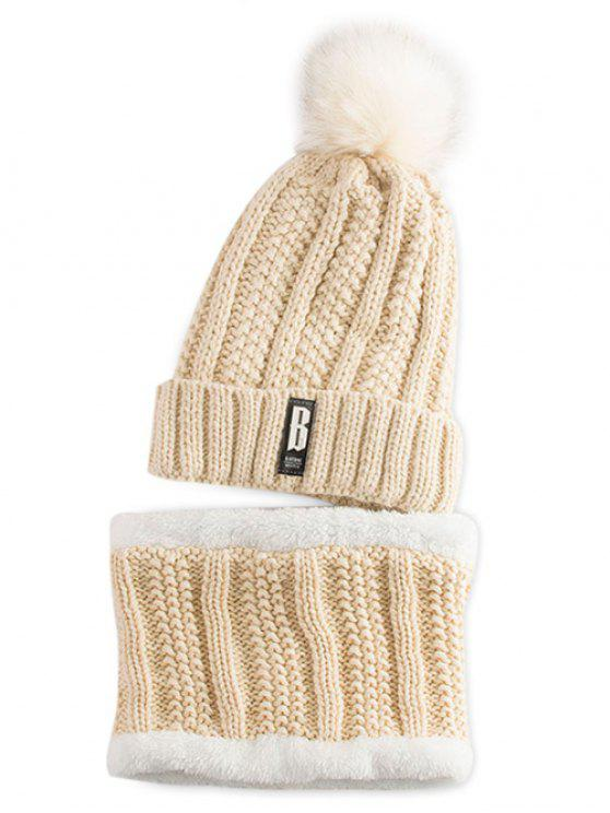 hot Label Knitted Pom Hat and Scarf - PALOMINO