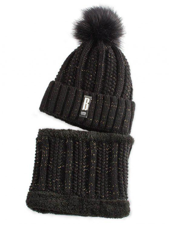 outfit Label Knitted Pom Hat and Scarf - BLACK
