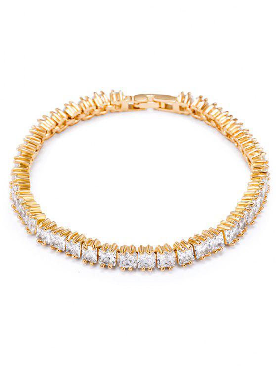 Vintage Rhinestone Embellished Charm Bracelet - Branco