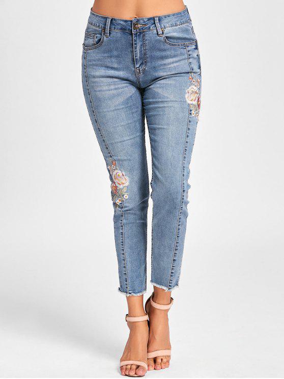 lady Embroidery Cigarette Jeans - DENIM BLUE XL