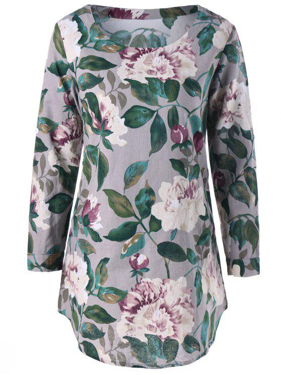 Slash Pockets Floral Tunic Top - Cinza L