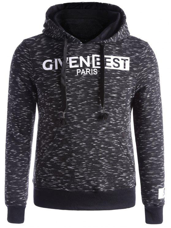 chic Space Dye Graphic Fleece Hoodie - BLACK L