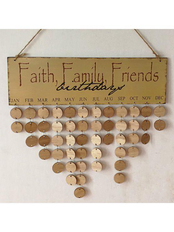 جدول الخشب طباعة ب Family And Friends Birthdays - مستدير