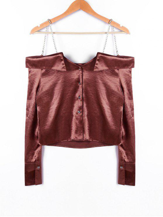affordable Chains Detail Crop Blouse - DARK AUBURN XL