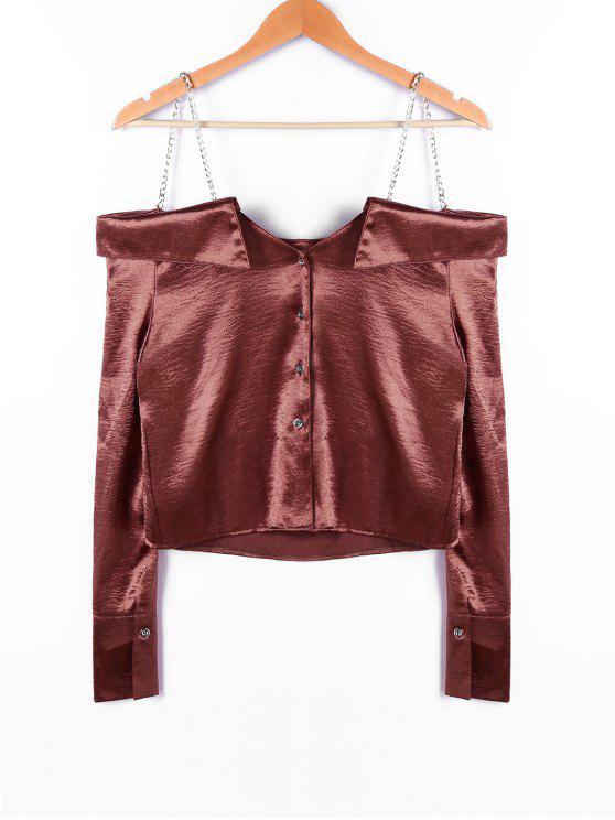 fancy Chains Detail Crop Blouse - DARK AUBURN S