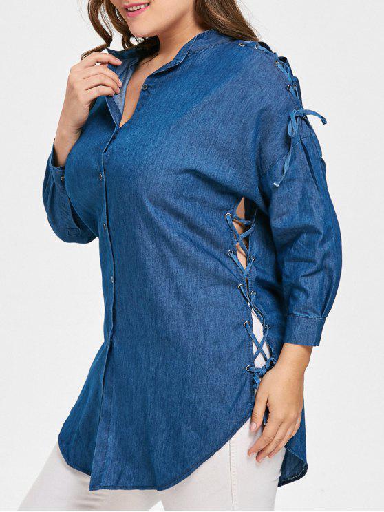 08fc9291413fea 30% OFF] 2019 Lace Up Drop Shoulder Plus Size Blouse In DENIM BLUE ...