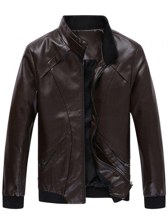 online Zip Up Panel Design Faux Leather Jacket - COFFEE 3XL