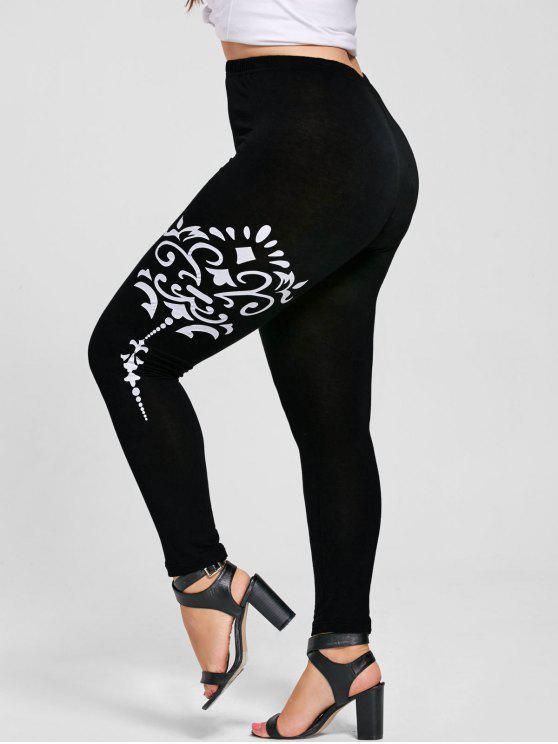 chic Plus Size Bandana Floral Leggings - BLACKS 2XL