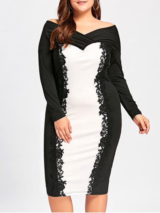 فستان رسمي الحجم الكبير ركبة الطول بلا اكتاف - أبيض وأسود 5XL