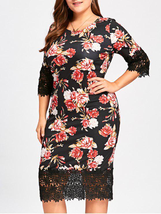 فستان الحجم الكبير ميدي طباعة - الأزهار 4XL