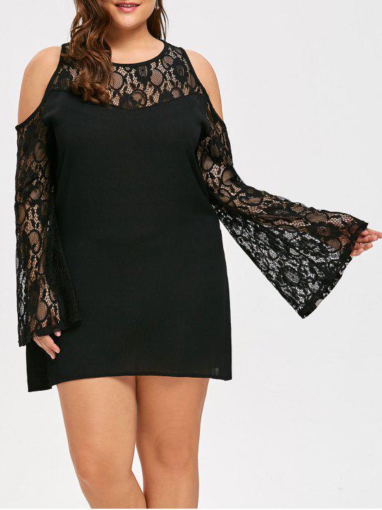 فستان الحجم الكبير شفاف دانتيل الأكمام - أسود 5XL