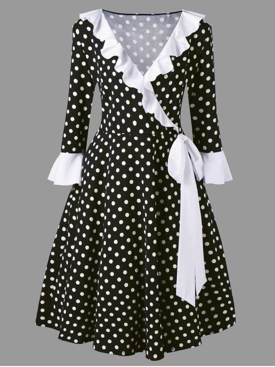 فستان منقط مزين بفيونكة ذو مقاس كبير - أبيض وأسود 4XL