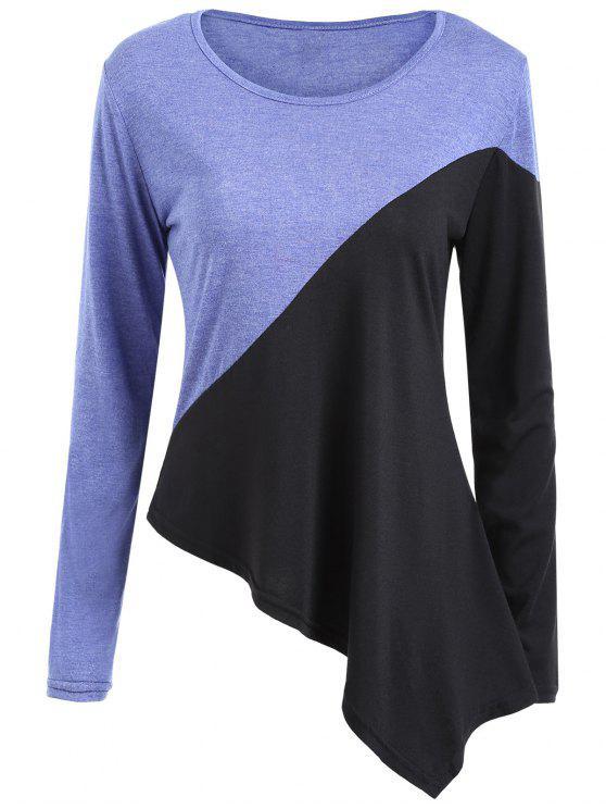 Zwei Tone asymmetrische Tunika T-Shirt - COLORMIX  XL