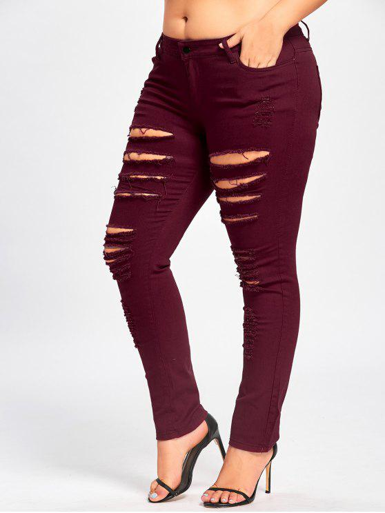 5c53ceb129688 33% OFF  2019 Ladder Distressed Plus Size Jeans In DEEP RED 3XL