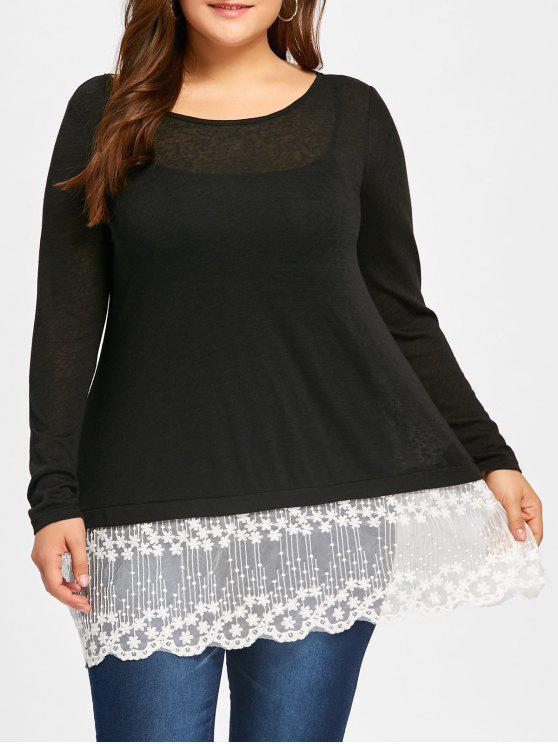 44d7d2c2e0c Plus Size Lace Panel Scolloped T-shirt +Cami Top