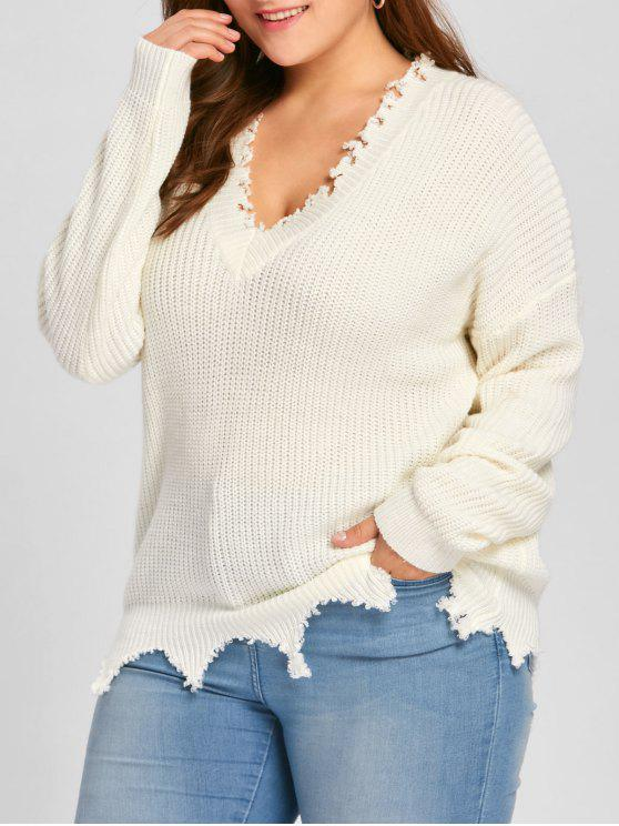sale Plus Size V Neck Raw Hem Sweater - OFF-WHITE XL