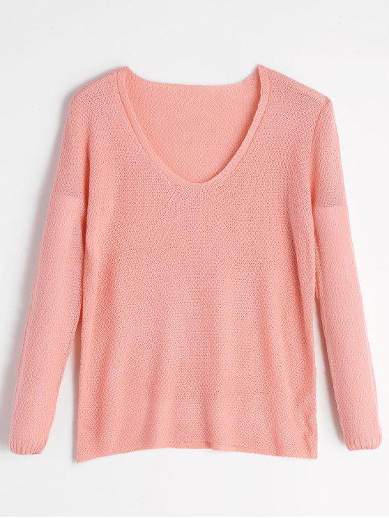Weite Anpassende Pullover Strickwaren mit V-Ausschnitt - Pink M
