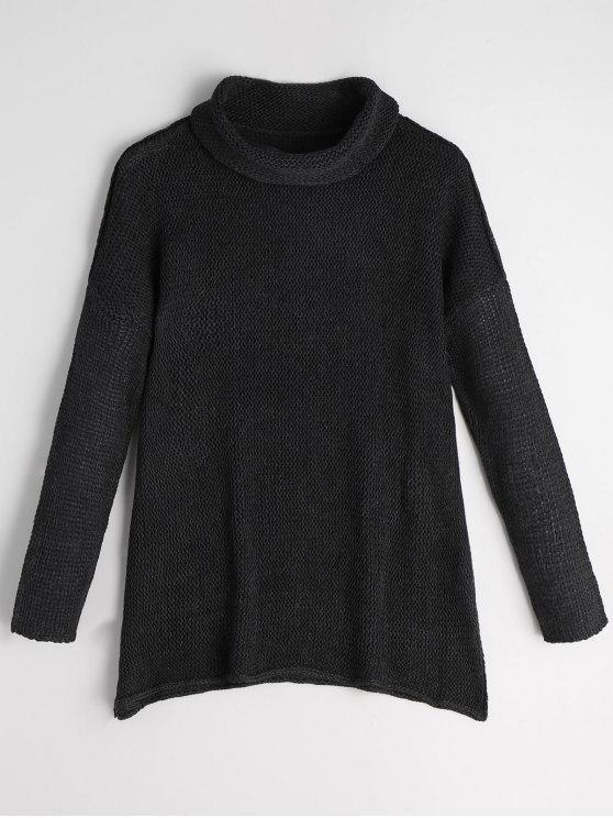 Maglione di tunica della tuta della spalla del turtleneck - Nero L