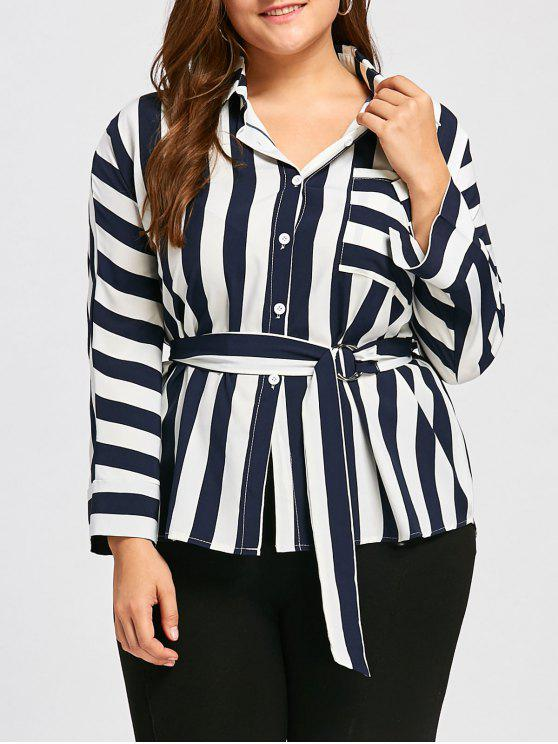 women's Plus Size Stripe Front Pocket Shirt with Belt - PURPLISH BLUE 3XL