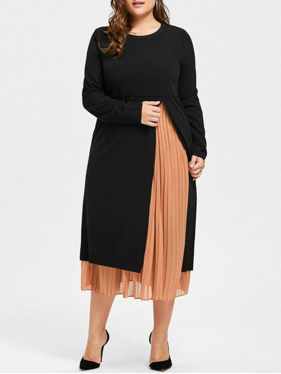 Plus Size Tank Pleated Dress with Long Sleeve Slit Dress COFFEE AND BLACK
