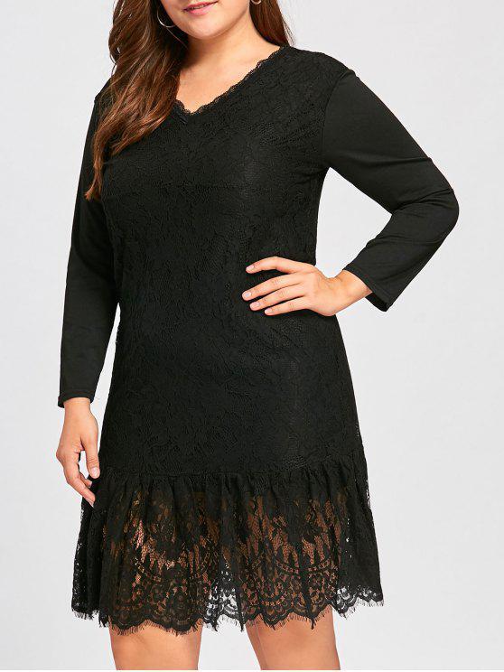2018 Plus Size V Back Long Sleeve Lace Dress In Black 4xl Zaful