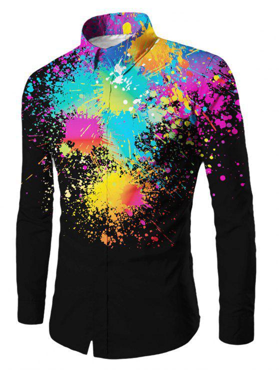 اللون الطلاء رشاش زر يصل قميص - أسود XL