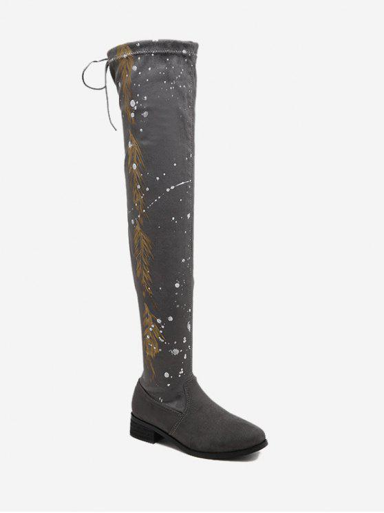affordable Round Toe Print Chunky Heel Thigh High Boots - GRAY 40