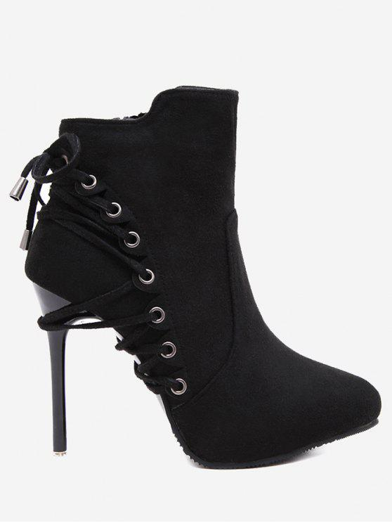 fancy Pointed Toe Eyelet Stiletto Ankle Boots - BLACK 37