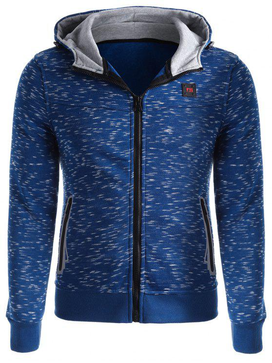 women's Space-dye Zip Up Fleece Hoodie - LIGHT BLUE XL