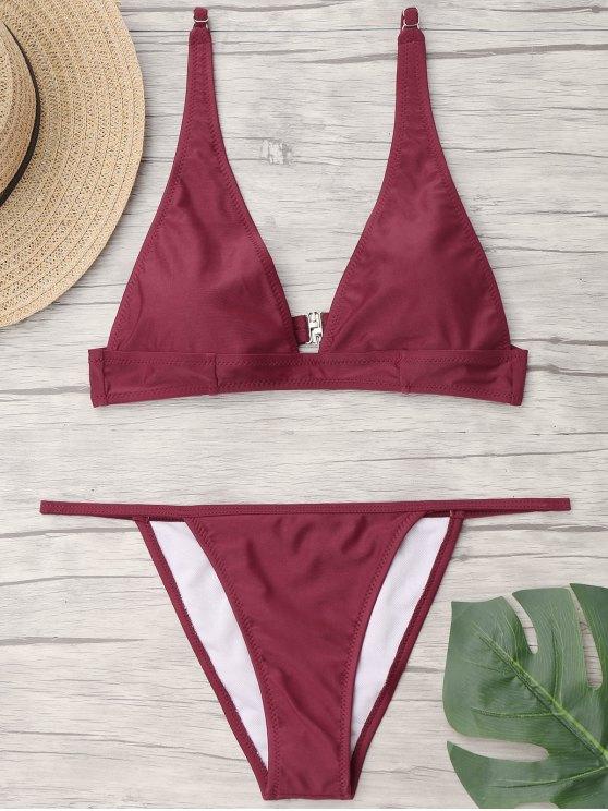 Bikini Perizoma Con Scollo Profondo - Borgogna L