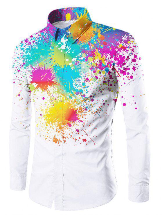 اللون الطلاء رشاش زر يصل قميص - أبيض XL