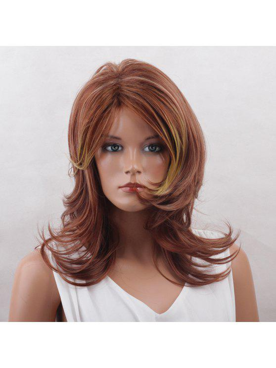 Long Side Bang Colormix Tail Up Layered Natural Straight Synthetic Wig - Cor Mistura