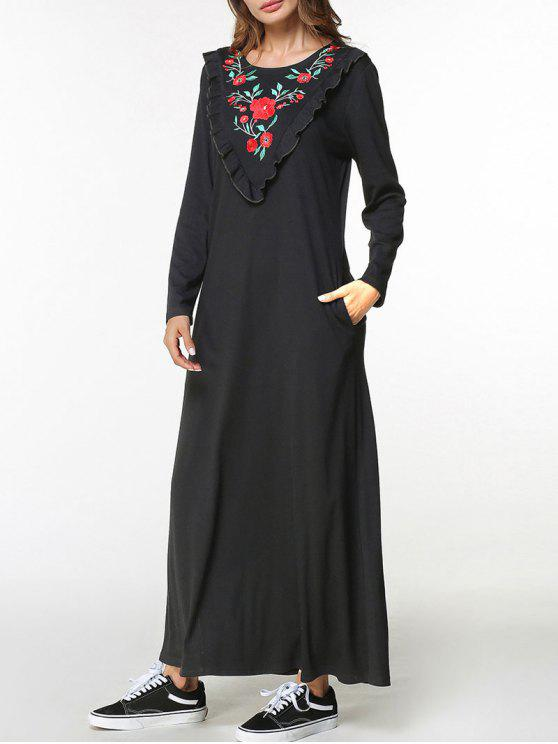 2d8945dea7 36% OFF  2019 Frilled Flower Embroidered Maxi Dress In BLACK