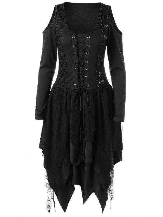 220a967e70a 2019 Halloween Lace Up Layered Handkerchief Dress In BLACK 2XL